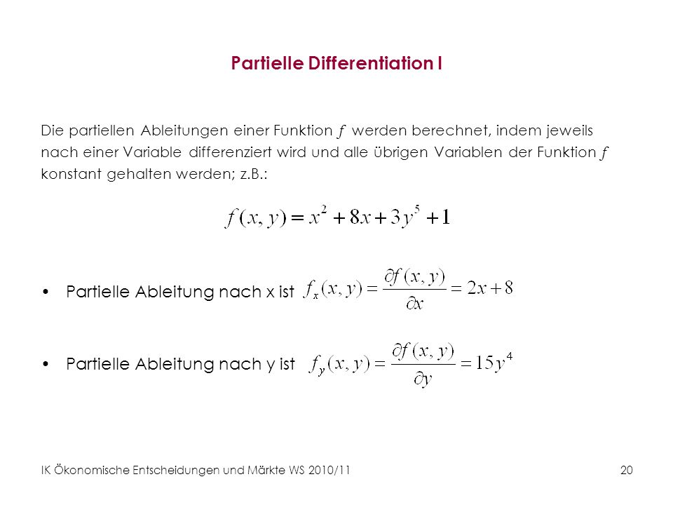 Partielle Differentiation I