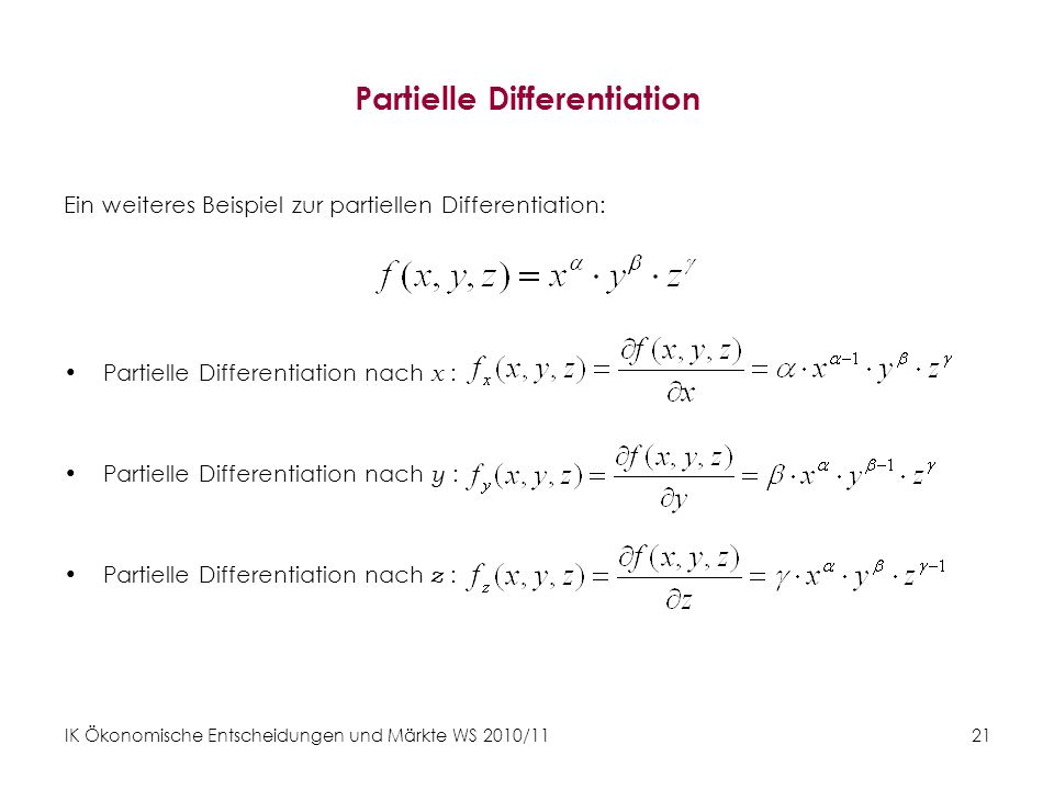 Partielle Differentiation