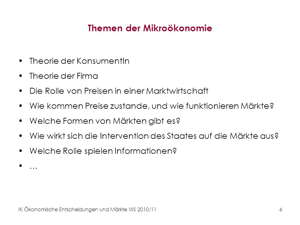 Themen der Mikroökonomie