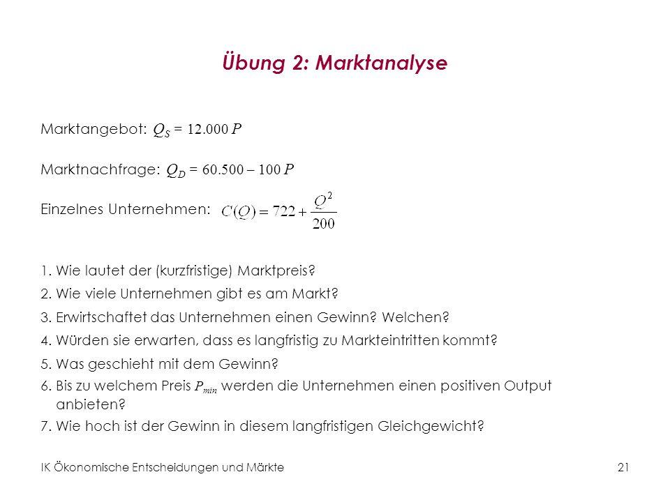 Übung 2: Marktanalyse Marktangebot: QS = 12.000 P