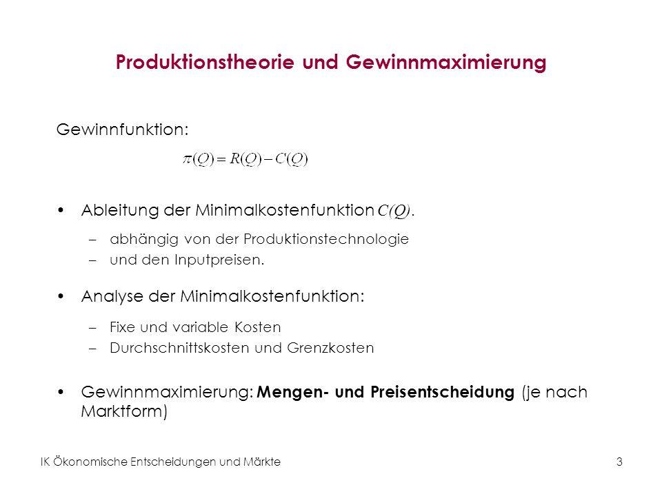 Produktionstheorie und Gewinnmaximierung