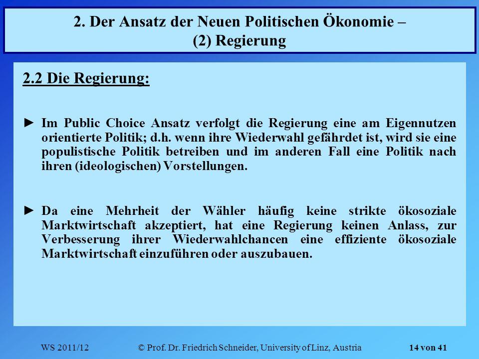 2. Der Ansatz der Neuen Politischen Ökonomie – (2) Regierung