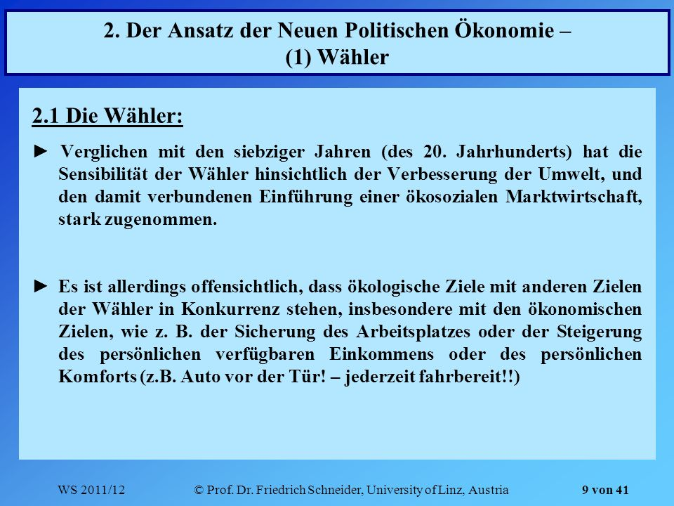 2. Der Ansatz der Neuen Politischen Ökonomie – (1) Wähler