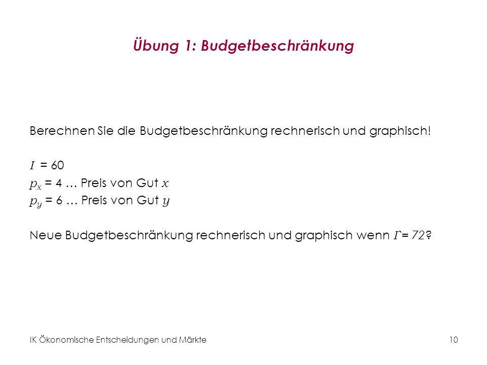 Übung 1: Budgetbeschränkung