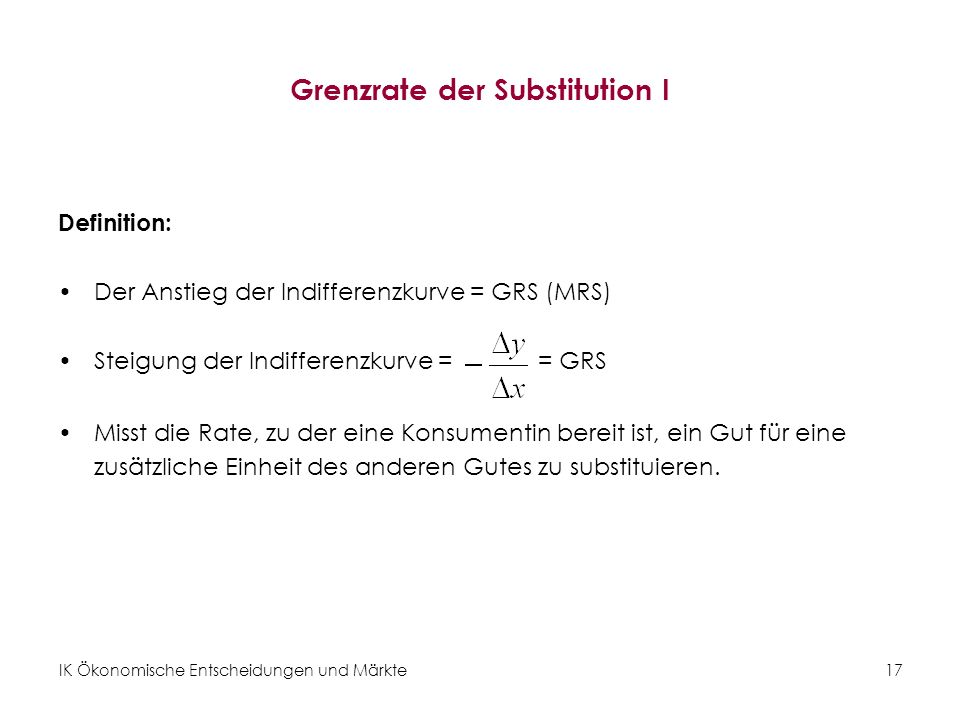 Grenzrate der Substitution I
