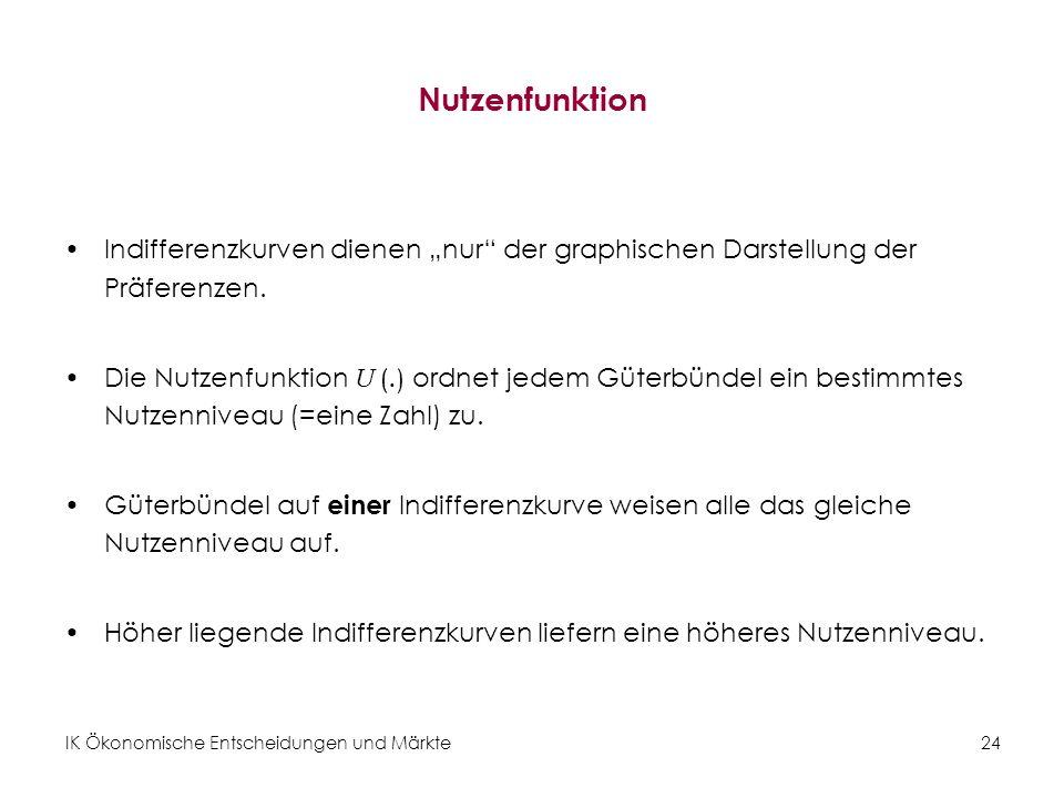 """NutzenfunktionIndifferenzkurven dienen """"nur der graphischen Darstellung der Präferenzen."""