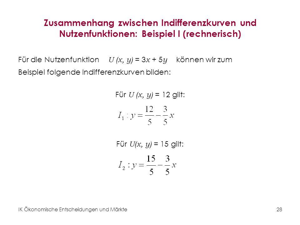 Zusammenhang zwischen Indifferenzkurven und Nutzenfunktionen: Beispiel I (rechnerisch)