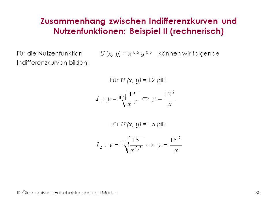 Zusammenhang zwischen Indifferenzkurven und Nutzenfunktionen: Beispiel II (rechnerisch)