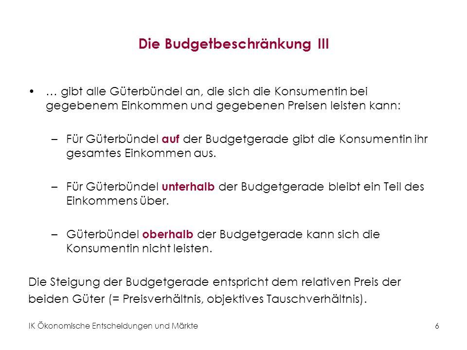 Die Budgetbeschränkung III