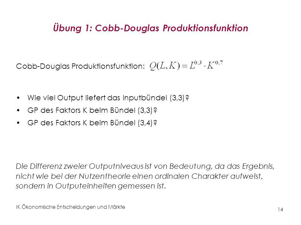 Übung 1: Cobb-Douglas Produktionsfunktion