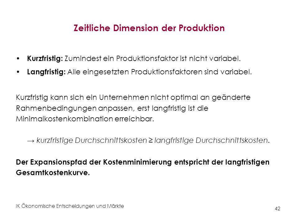 Zeitliche Dimension der Produktion