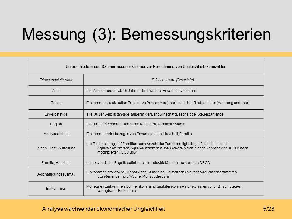 Messung (3): Bemessungskriterien