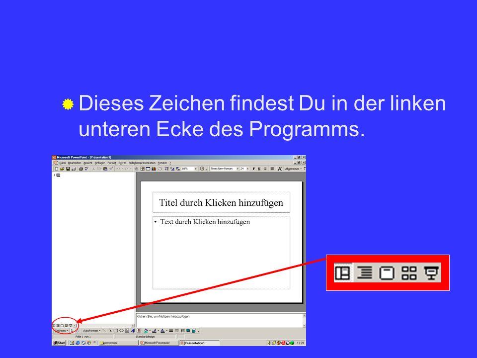 Dieses Zeichen findest Du in der linken unteren Ecke des Programms.