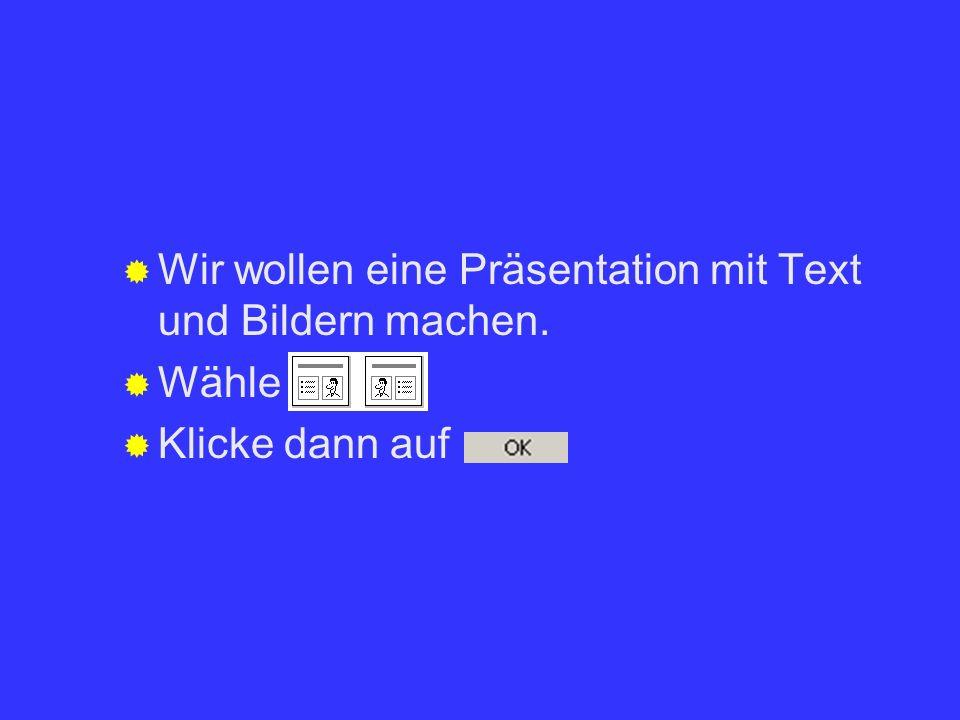 Wir wollen eine Präsentation mit Text und Bildern machen.