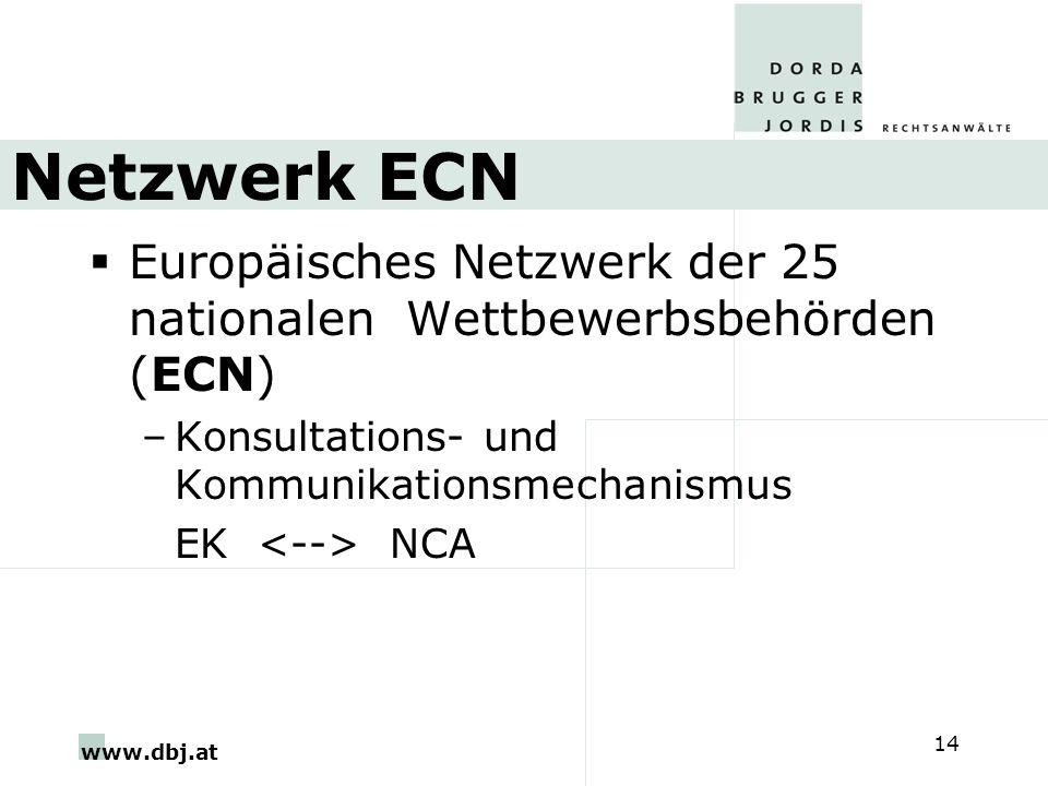 Netzwerk ECN Europäisches Netzwerk der 25 nationalen Wettbewerbsbehörden (ECN) Konsultations- und Kommunikationsmechanismus.