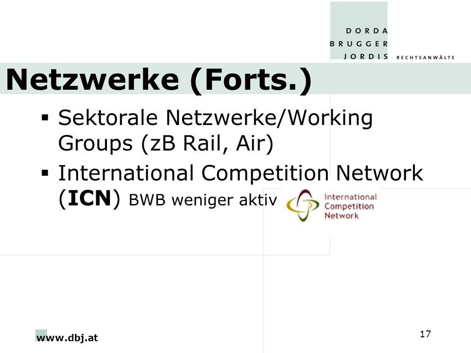 Netzwerke (Forts.) Sektorale Netzwerke/Working Groups (zB Rail, Air)