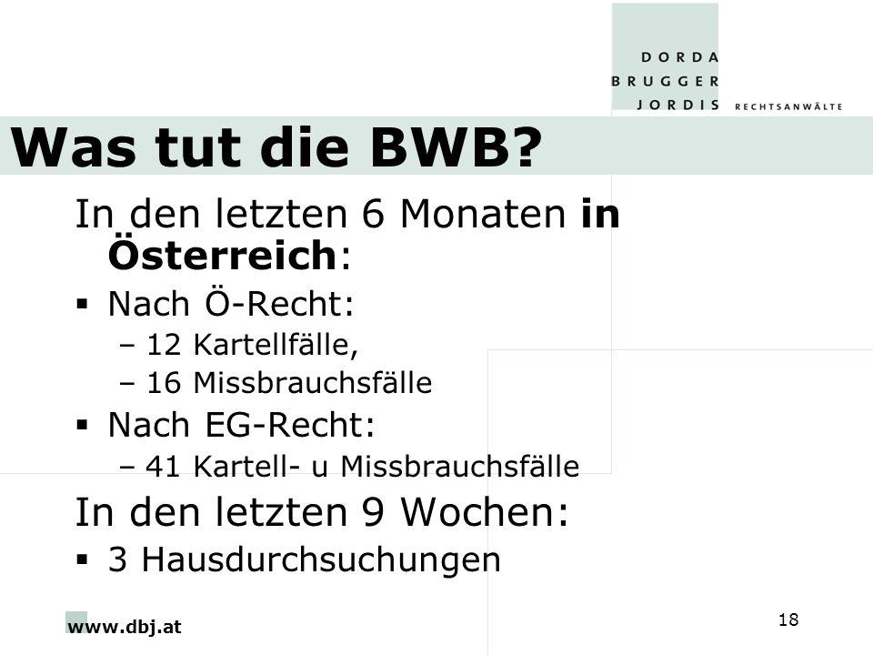 Was tut die BWB In den letzten 6 Monaten in Österreich: