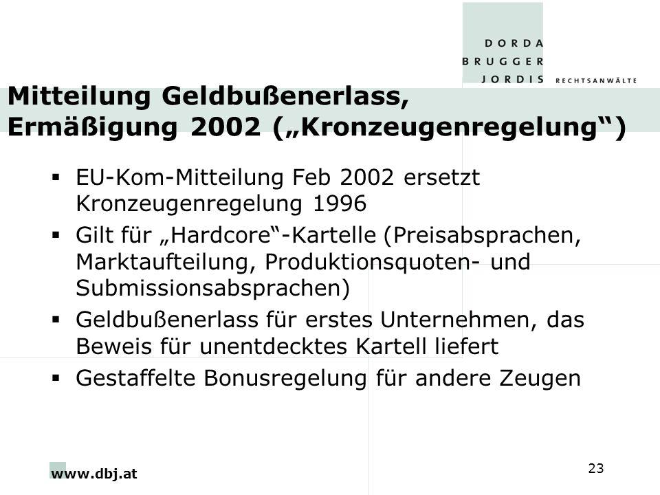 """Mitteilung Geldbußenerlass, Ermäßigung 2002 (""""Kronzeugenregelung )"""