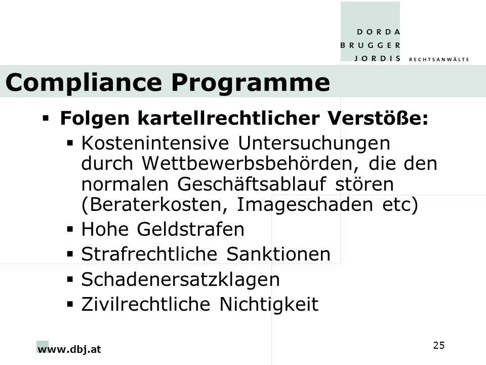 Compliance Programme Folgen kartellrechtlicher Verstöße:
