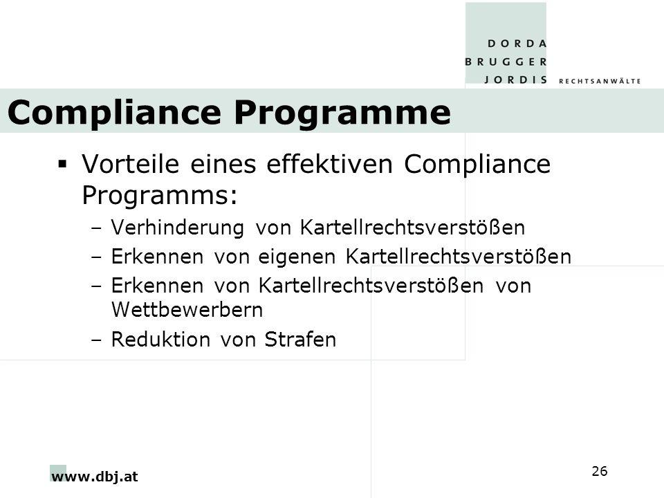 Compliance Programme Vorteile eines effektiven Compliance Programms:
