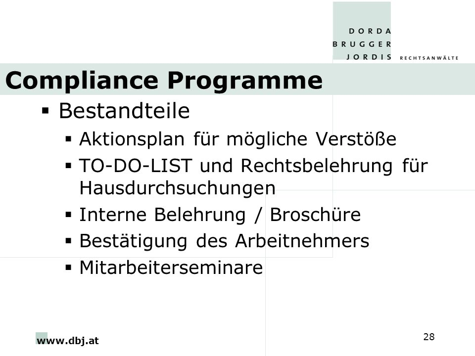 Compliance Programme Bestandteile Aktionsplan für mögliche Verstöße