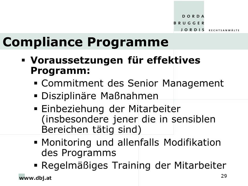 Compliance Programme Voraussetzungen für effektives Programm:
