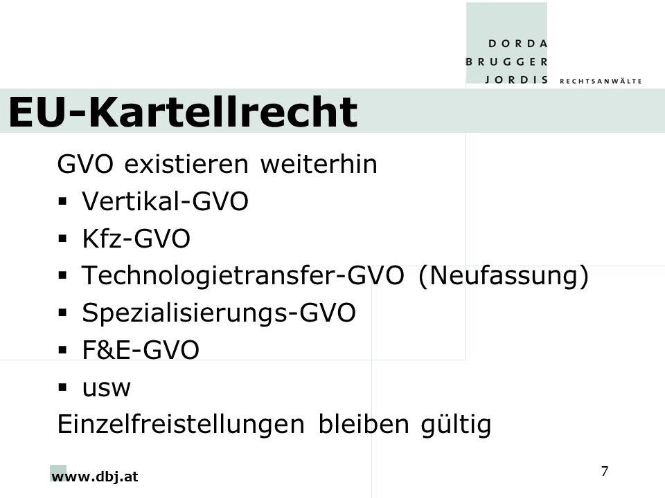 EU-Kartellrecht GVO existieren weiterhin Vertikal-GVO Kfz-GVO