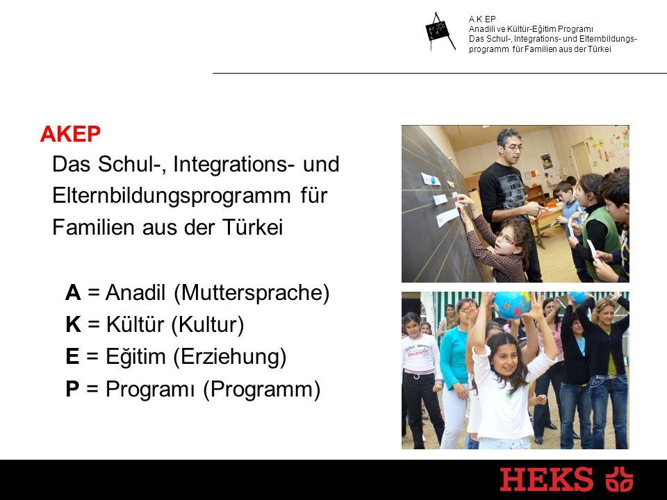 AKEP Das Schul-, Integrations- und Elternbildungsprogramm für Familien aus der Türkei A = Anadil (Muttersprache) K = Kültür (Kultur) E = Eğitim (Erziehung) P = Programı (Programm)