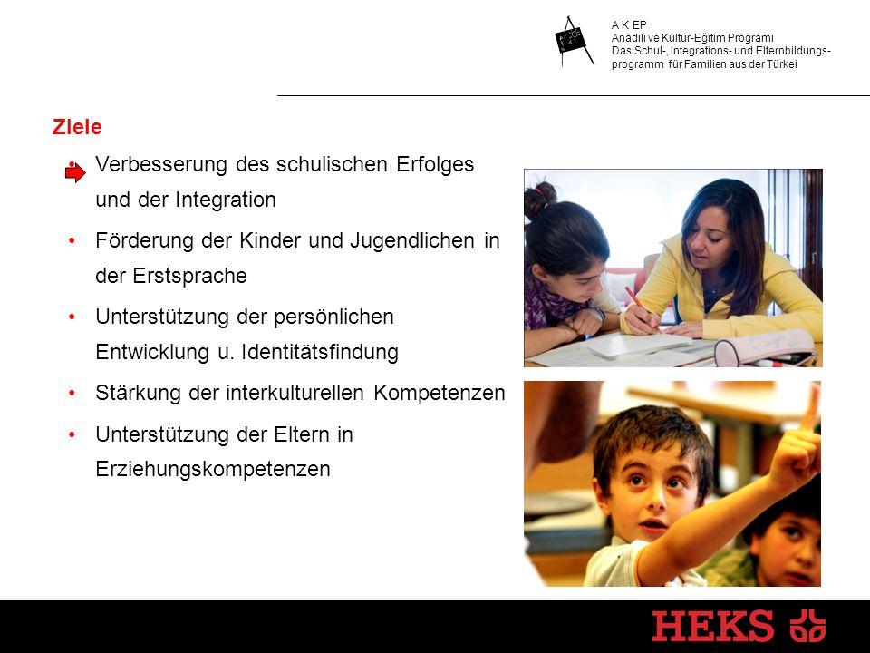 Ziele Verbesserung des schulischen Erfolges und der Integration. Förderung der Kinder und Jugendlichen in der Erstsprache.