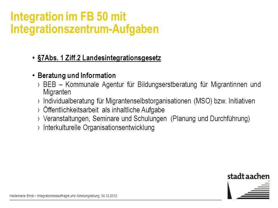 Integration im FB 50 mit Integrationszentrum-Aufgaben