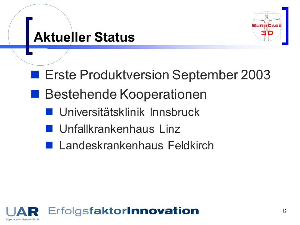 Erste Produktversion September 2003 Bestehende Kooperationen