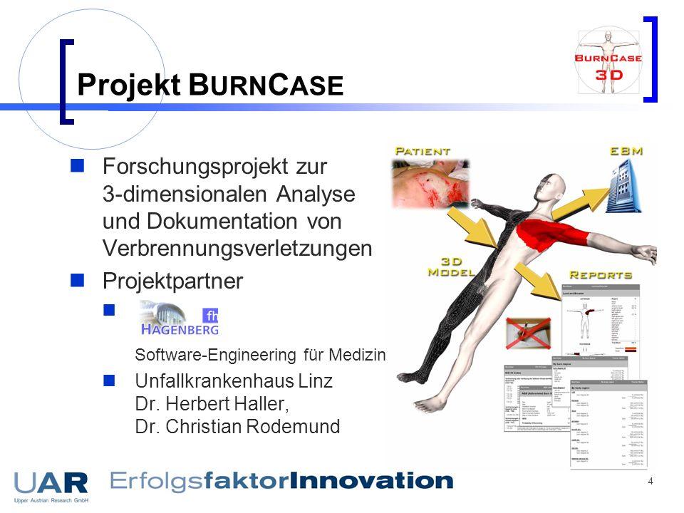 Projekt BURNCASE Forschungsprojekt zur 3-dimensionalen Analyse und Dokumentation von Verbrennungsverletzungen.