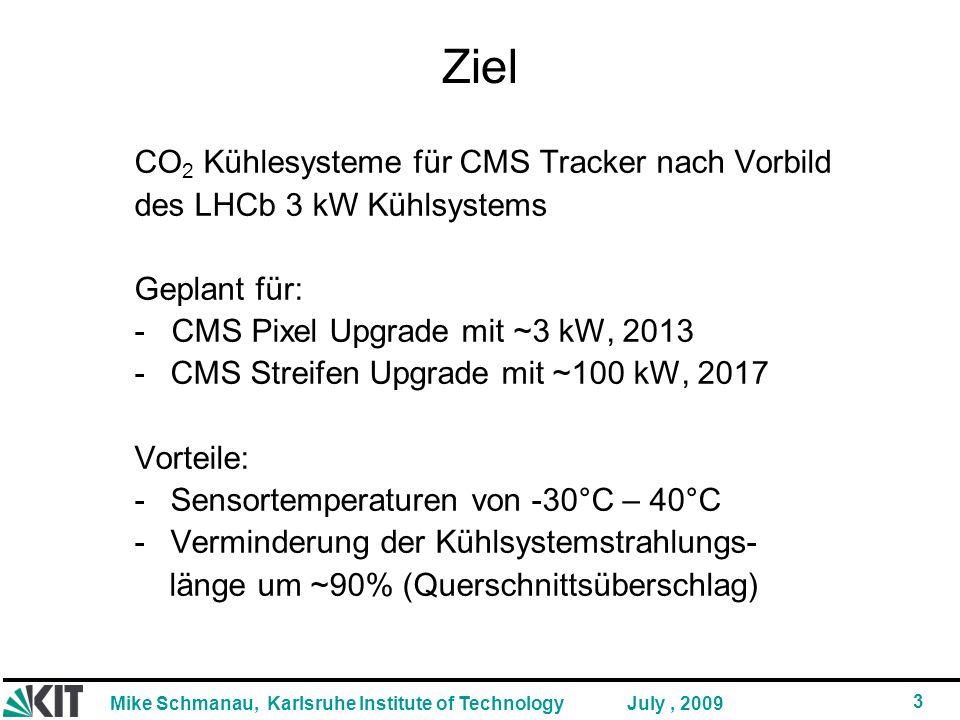 Ziel CO2 Kühlesysteme für CMS Tracker nach Vorbild