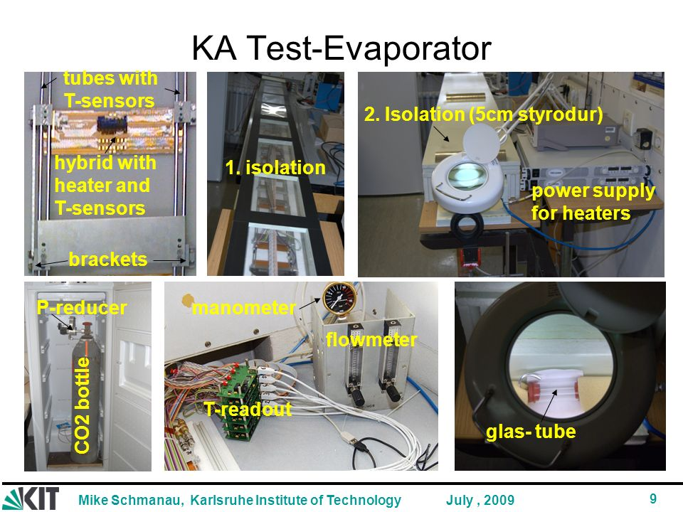 KA Test-Evaporator hybrid with heater and T-sensors tubes with