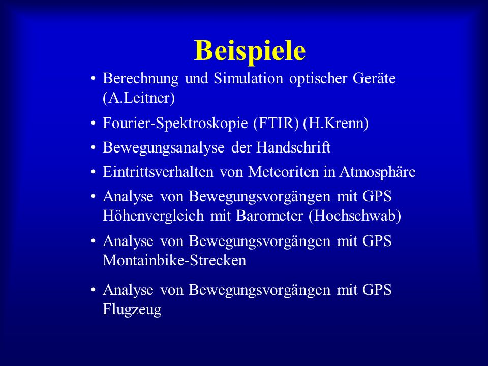 Beispiele Berechnung und Simulation optischer Geräte (A.Leitner)