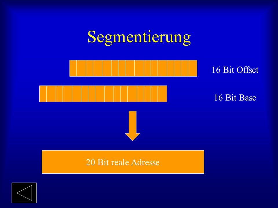 Segmentierung 16 Bit Offset 16 Bit Base 20 Bit reale Adresse