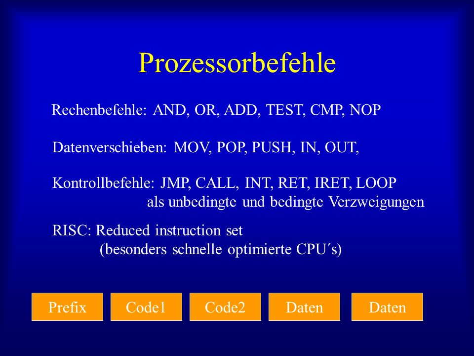Prozessorbefehle Rechenbefehle: AND, OR, ADD, TEST, CMP, NOP