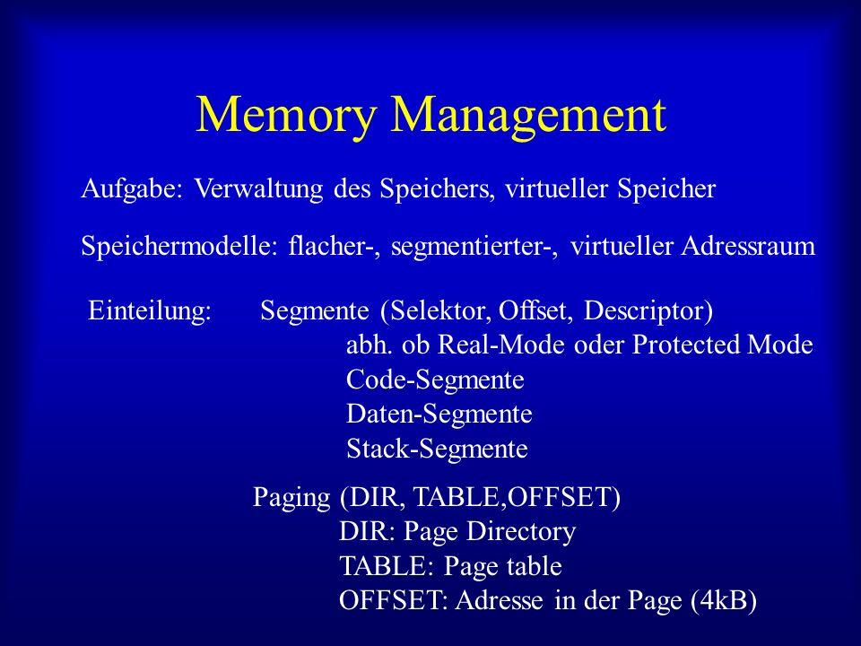 Memory Management Aufgabe: Verwaltung des Speichers, virtueller Speicher. Speichermodelle: flacher-, segmentierter-, virtueller Adressraum.