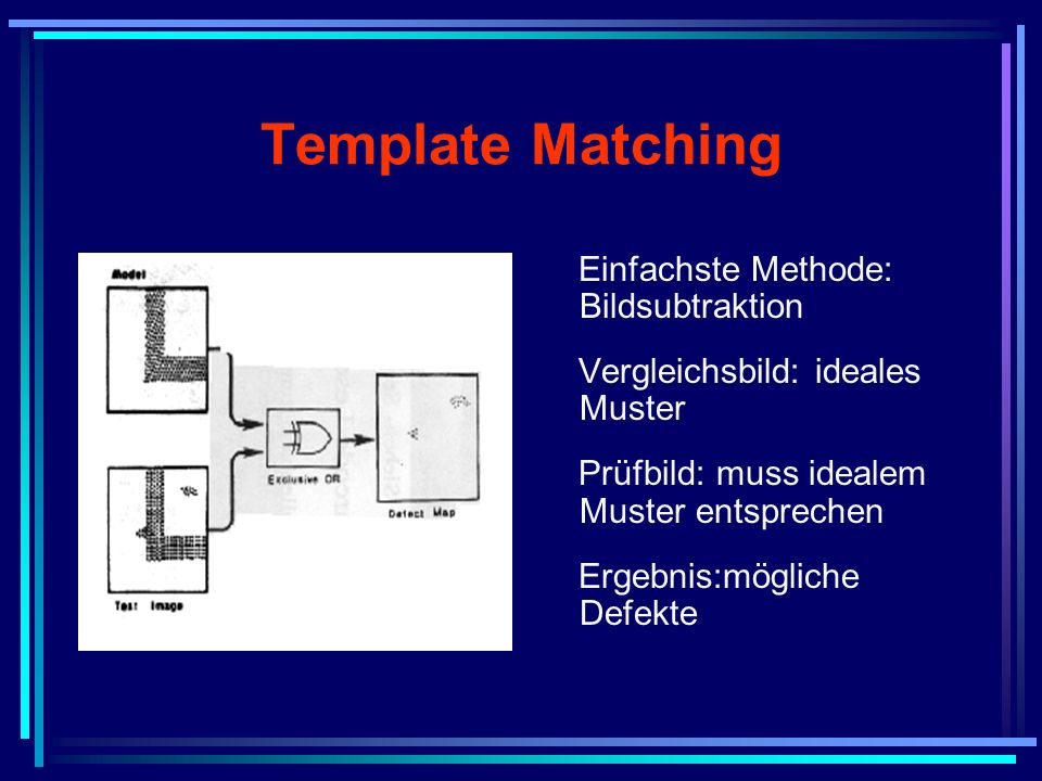 Template Matching Einfachste Methode: Bildsubtraktion