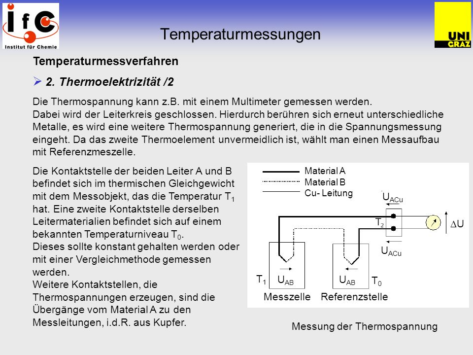 Temperaturmessungen Temperaturmessverfahren 2. Thermoelektrizität /2
