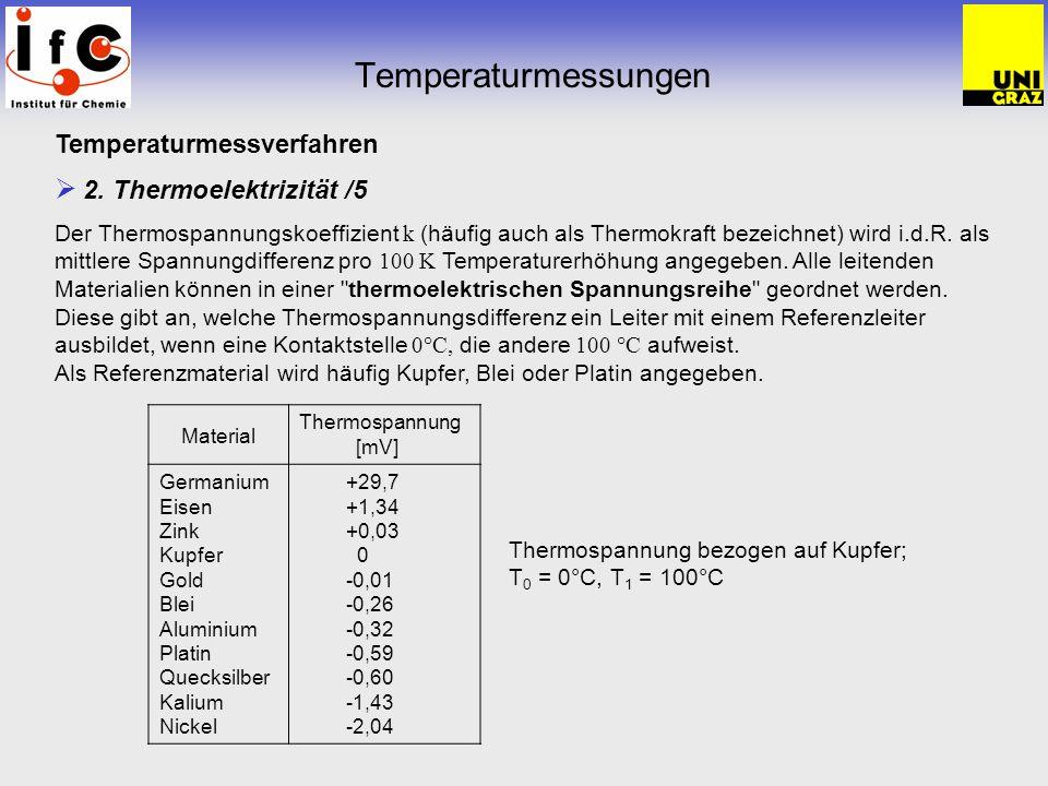 Temperaturmessungen Temperaturmessverfahren 2. Thermoelektrizität /5