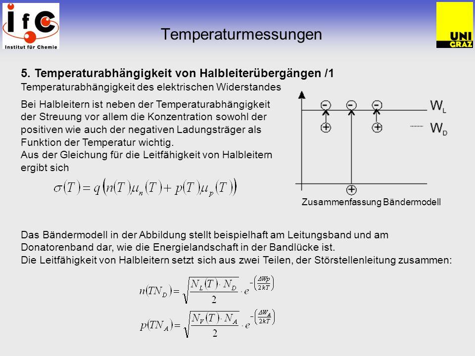 Temperaturmessungen 5. Temperaturabhängigkeit von Halbleiterübergängen /1 Temperaturabhängigkeit des elektrischen Widerstandes.
