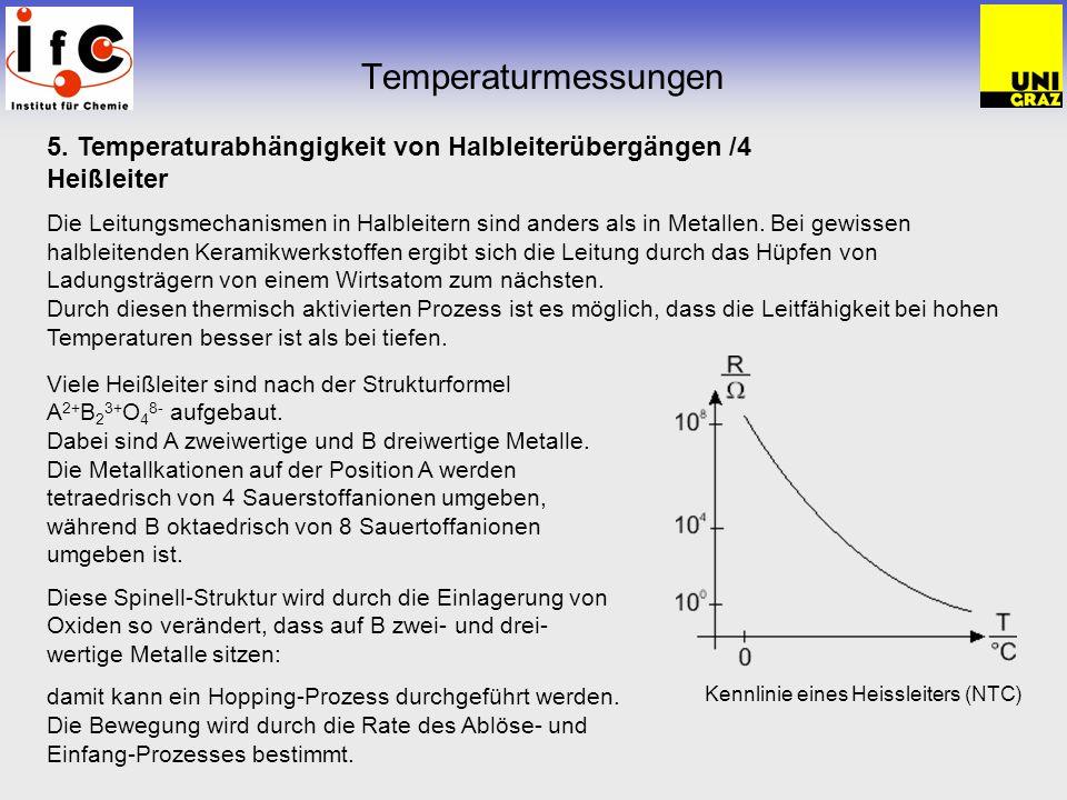 Temperaturmessungen 5. Temperaturabhängigkeit von Halbleiterübergängen /4. Heißleiter.