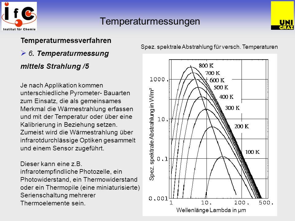 Temperaturmessungen Temperaturmessverfahren 6. Temperaturmessung