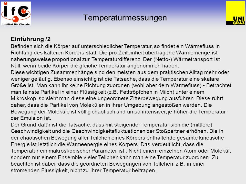 Temperaturmessungen Einführung /2