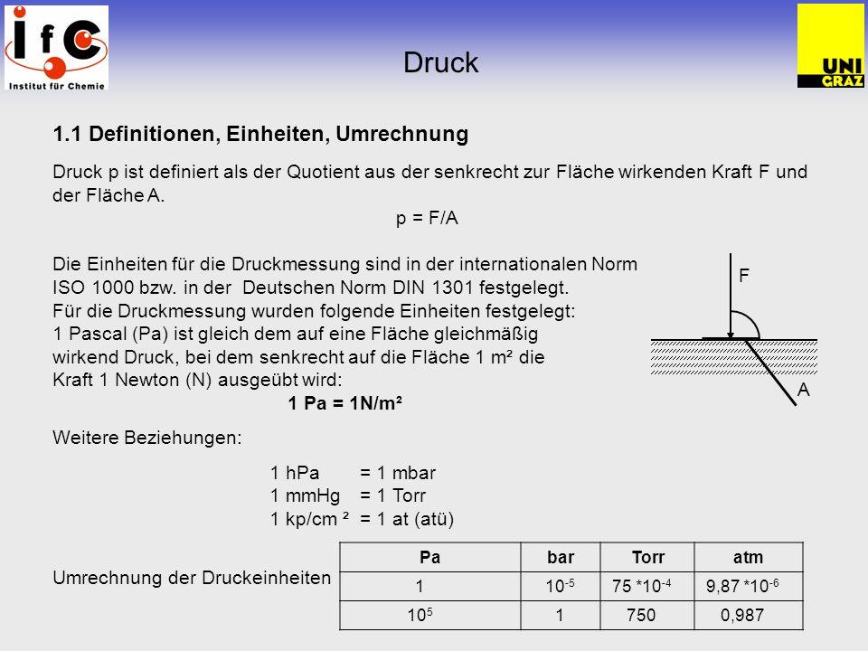 Druck 1.1 Definitionen, Einheiten, Umrechnung