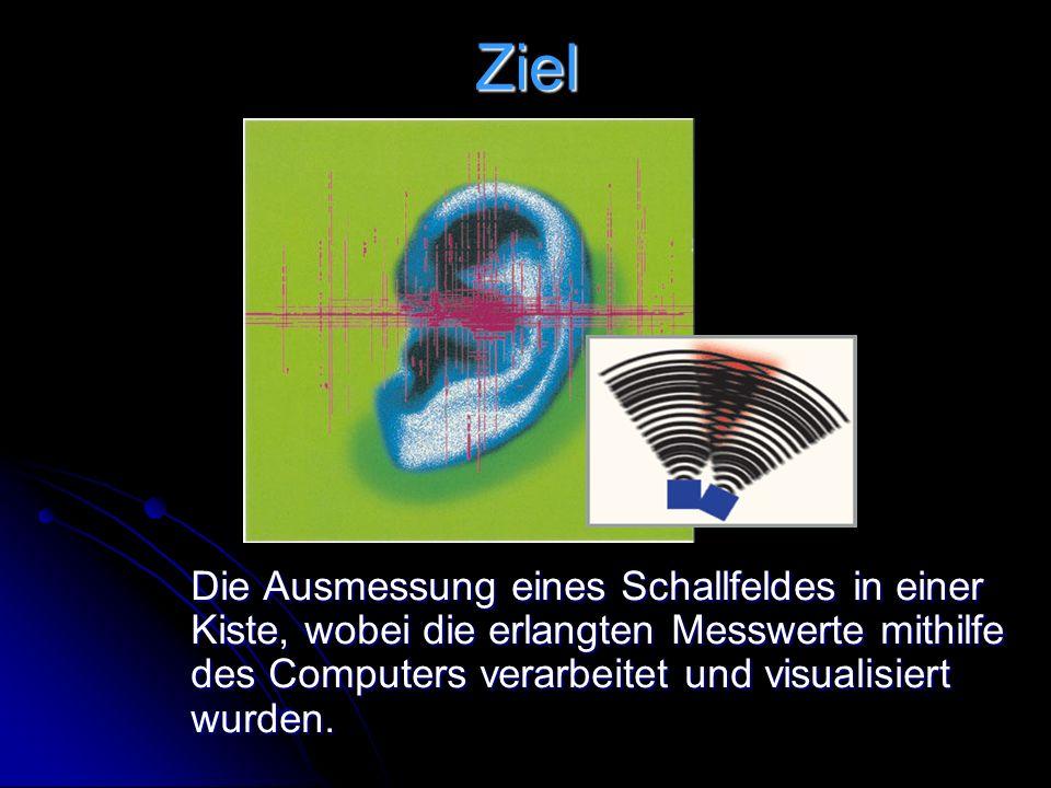 Ziel Die Ausmessung eines Schallfeldes in einer Kiste, wobei die erlangten Messwerte mithilfe des Computers verarbeitet und visualisiert wurden.