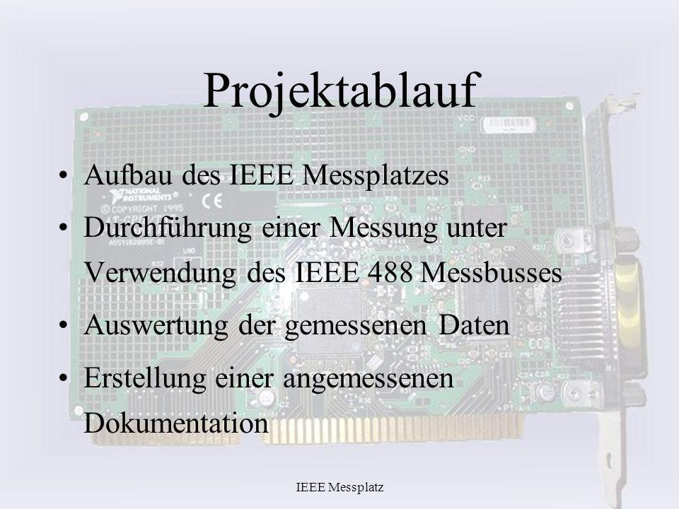 Projektablauf Aufbau des IEEE Messplatzes