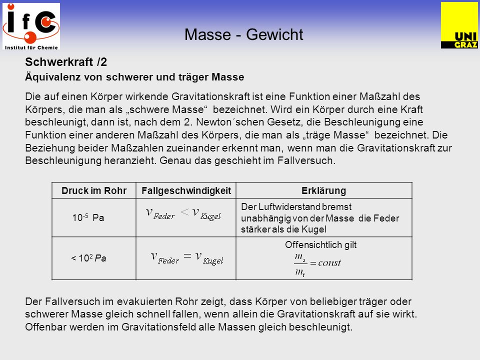 Masse - Gewicht Schwerkraft /2