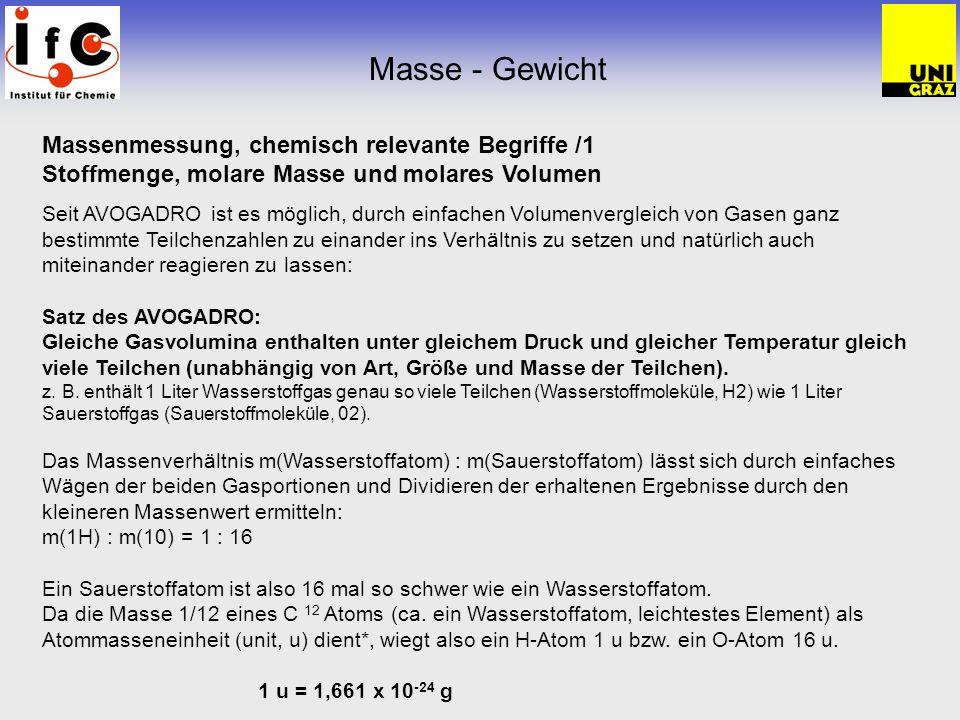 Masse - Gewicht Massenmessung, chemisch relevante Begriffe /1